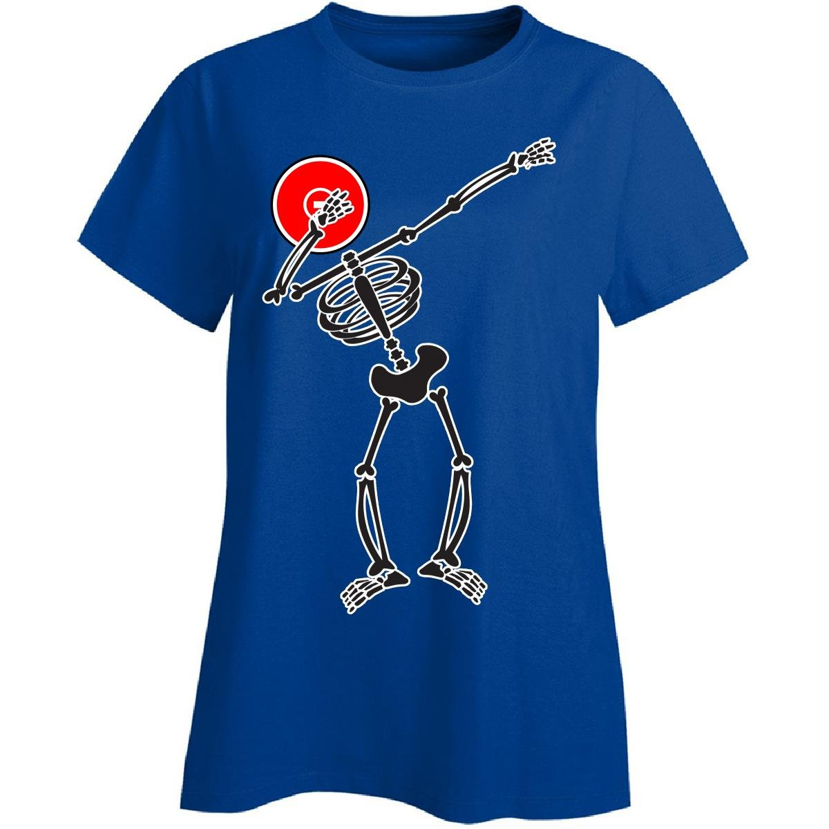 Dabbing Skeleton With Wrestling Mat Head - Ladies T-shirt Ladies Xl Royal by Eternally Gifted