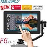 """FEELWORLD F6 Plus 5.5"""" Screen Touchable 3D LUT Camera Field Video Monitor 4K HDMI Small Full HD 1920x1080 IPS for DSLR with Swivel Arm Video Peaking Focus Assist 8.4V DC Input/Output"""