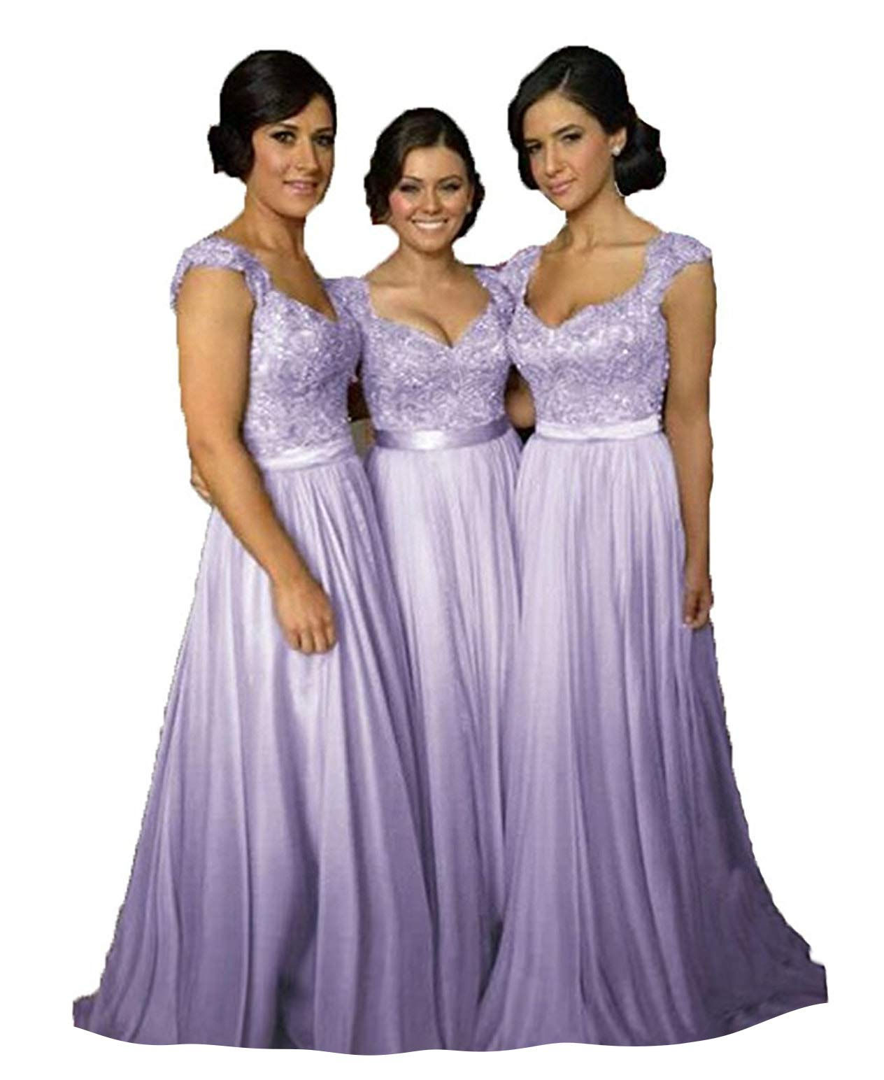 top-rated official best quality for best selection of Fanciest Women' Cap Sleeve Lace Bridesmaid Dresses Long Wedding Party Gowns  Lavender US12