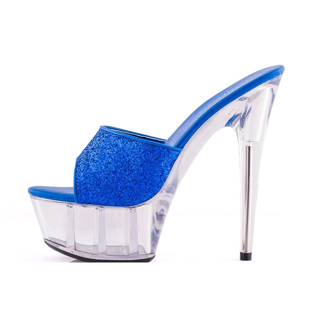 22ea096cc6e8 Women s Shoes Sandals Women s Shoes - Sexy Super High Heels 15cm Summer  Cool Sandals Transparent Sequins Fashion Crystal Shoes (Color   Blue