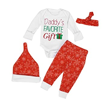 c6dbf74063d3 FEITONG 4Pcs Xmas Newborn Baby Romper Bodysuit+Pants+ Hat+ Hairband Clothes  Outfits Set (12