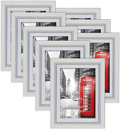 UMI Cadre Photos 13x18 cm Lot de 8 Blanc Cadres Murals 15x20 D/écoration Chambre