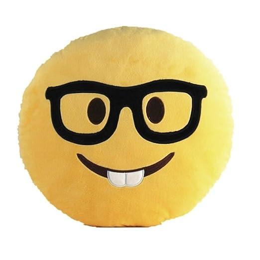 SD Maket 32 cm Emoji Pillow Cojín Emoji Emoticono Sonriente Amarillo Redondo Almohada de Peluche Felpa Almohadilla montón de Expresiones (Gafas ...