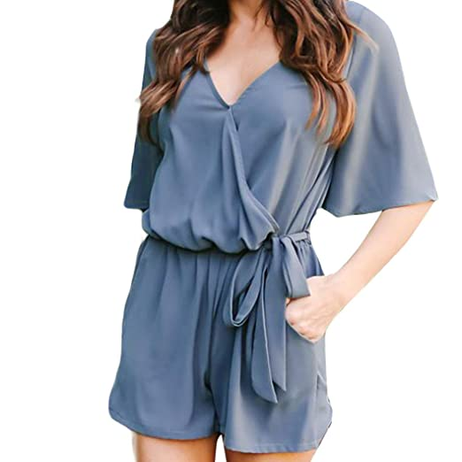 152b0872a62 Image Unavailable. Image not available for. Color  Rambling Women s Casual Short  Sleeve Belted Keyhole Back One Piece Sexy Bodycon Jumpsuit Romper