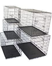 PETJOINT Pet Dog Crate Metal Folding Cage Portable Kennel House Training Puppy Kitten Cat Rabbit with Removable Tray