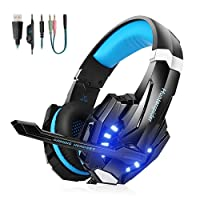 Gaming headsets PS4,Hunterspider Comfortable LED 3.5mm Stereo Gaming LED Lighting Over-Ear Headphone Headset Headband with Mic for PC Laptop Mac Nintendo Switch New Xbox One PS4 Computer Game with Noise Cancelling & Volume Control