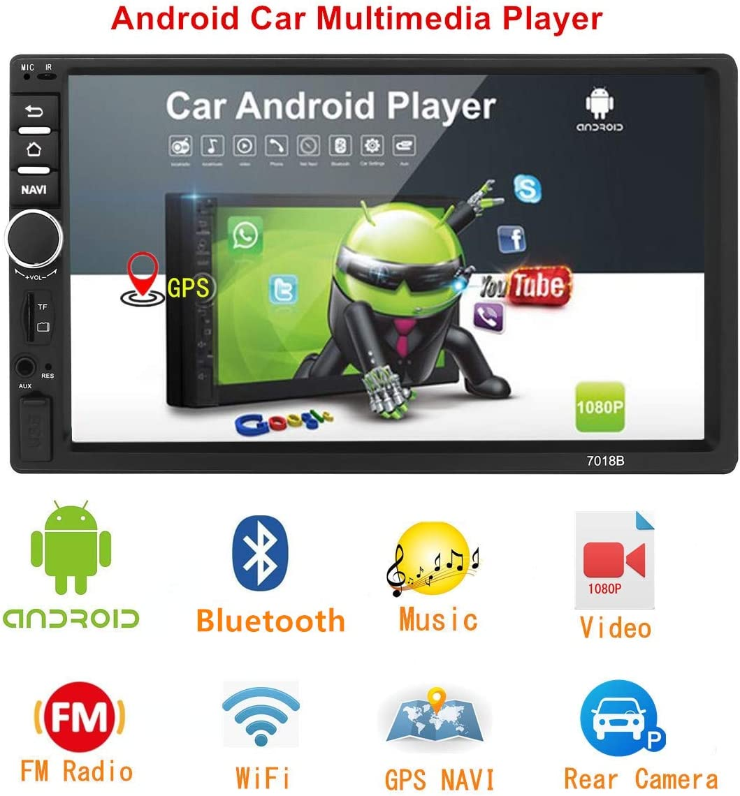 Android Doble Din Radio De Coche Navegacion GPS,7 Pulgadas Coche Reproductor MP5 USB/SD/AUX Entrada,Radios Para Coche Bluetooth,Radio FM,Enlace Espejo ,WiFi,con Cámara Trasera: Amazon.es: Electrónica