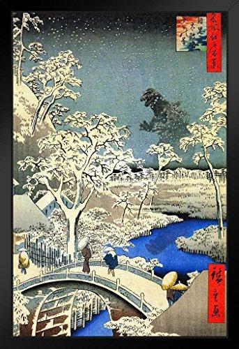 Kaiju at Meguro Drum Bridge Utagawa Hiroshige Art Humor Framed Poster 14x20 inch