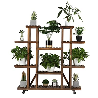 Yaheetech Plant Stand Shelf Indoor - 6 Tier Tiered Wood Plant Flower Pots Shelves Rack Holder Stand Indoor Outdoor for Multiple Plants Garden Balcony Patio Living Room : Garden & Outdoor