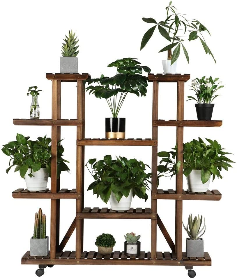Amazon Com Yaheetech Rolling Plant Stand Shelf Indoor 6 Tier Wood Plant Pots Shelves Tiered Flower Rack Holder Stand With Detachable Wheels For Multiple Plants Outdoor Garden Balcony Patio Living Room