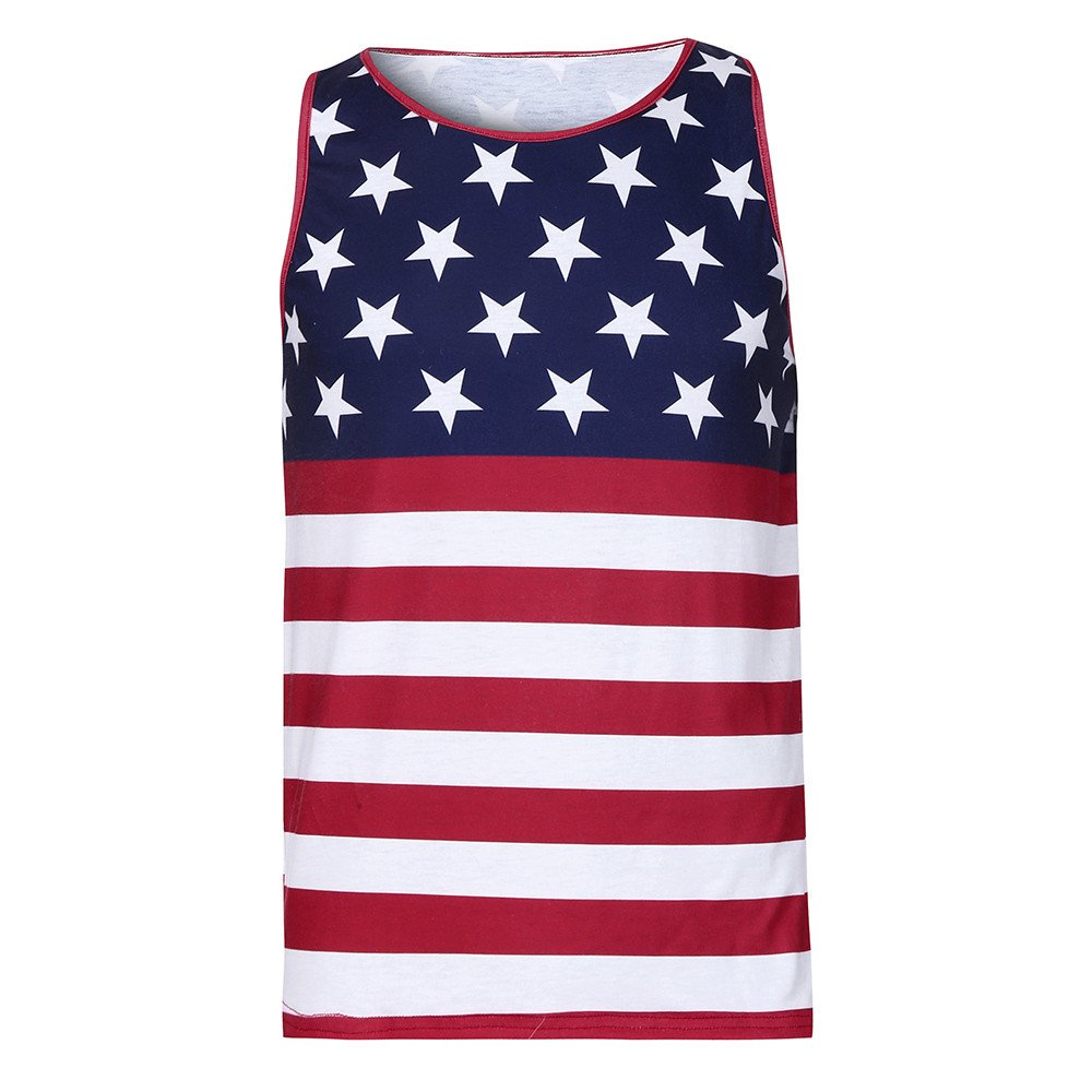 Cardigo Independence Day Mens Stars Striped Slim Fit Muscle Shirt Vest Crop Tank Top