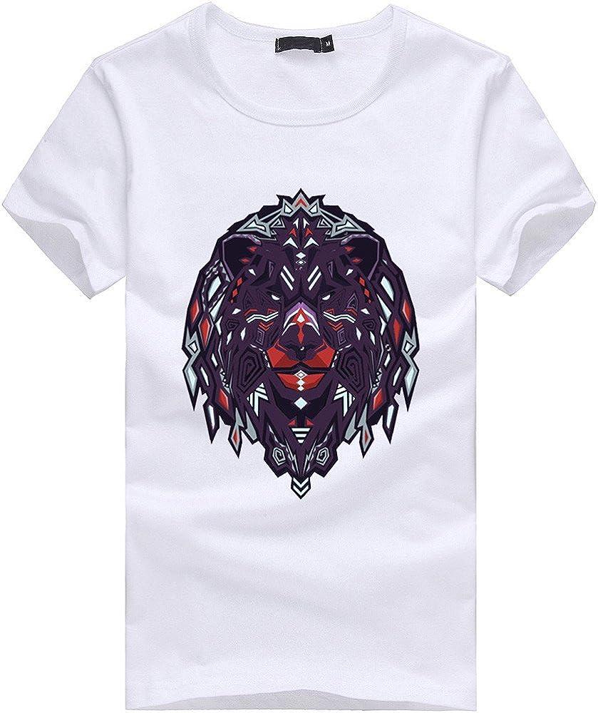 S-XXXXL Modaworld Maglietta Uomo Taglie Forti Casual Estate Maglia Girocollo T-Shirt Divertente con Stampa Leone