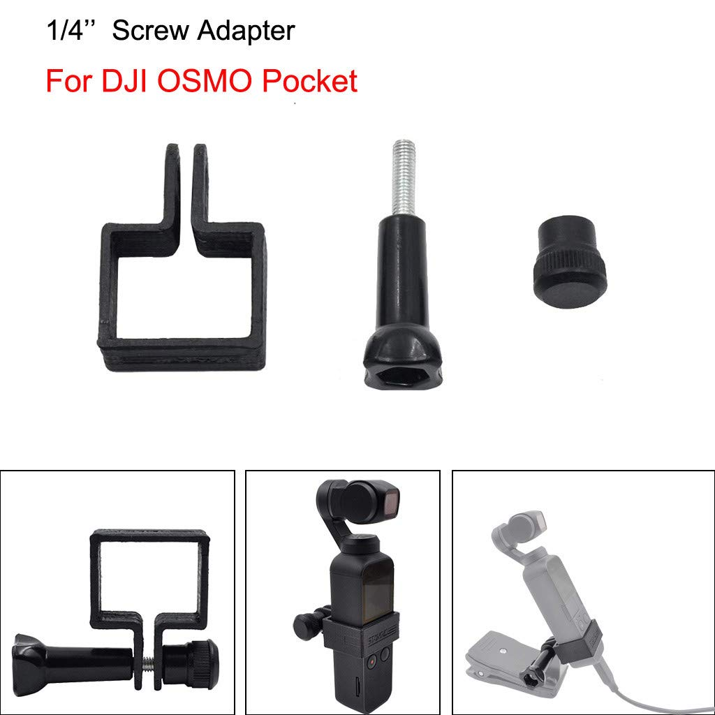 Staron  Expansion 1/4 inch Screw Adapter Bracket for DJI Osmo Pocket Handheld Gimbal Stabilizer (Black)
