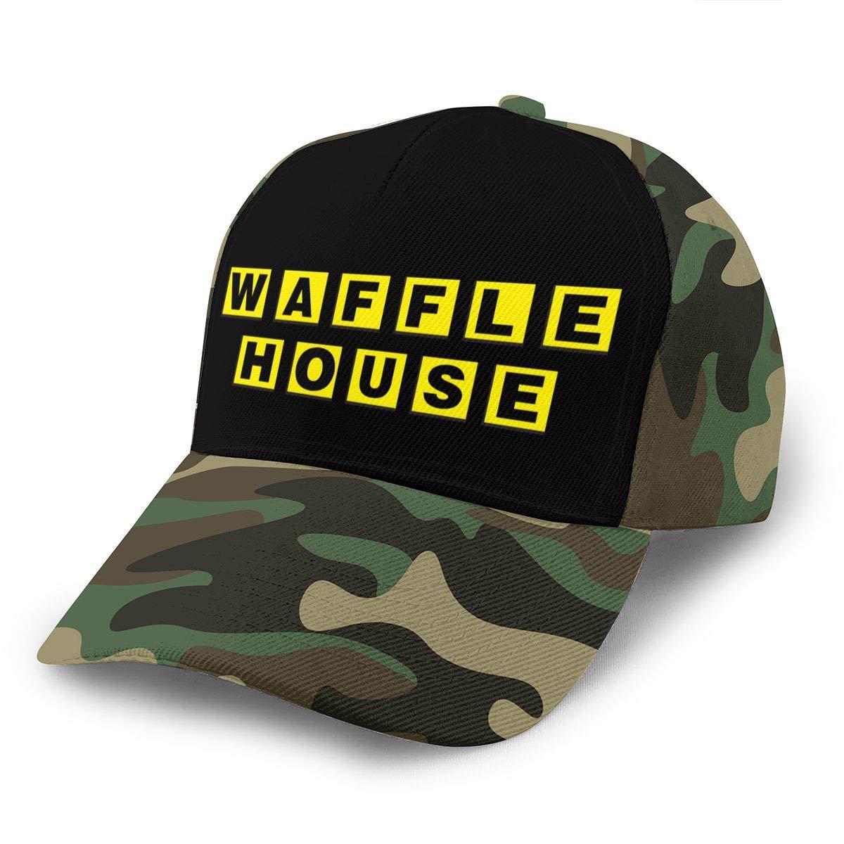 Adjustable Women Men Waffle-House-Logo Print Baseball Cap Flat Brim Cap Hats Hip Hop Snapback Sun Hat Boys Girls Moss Green by Apolonia
