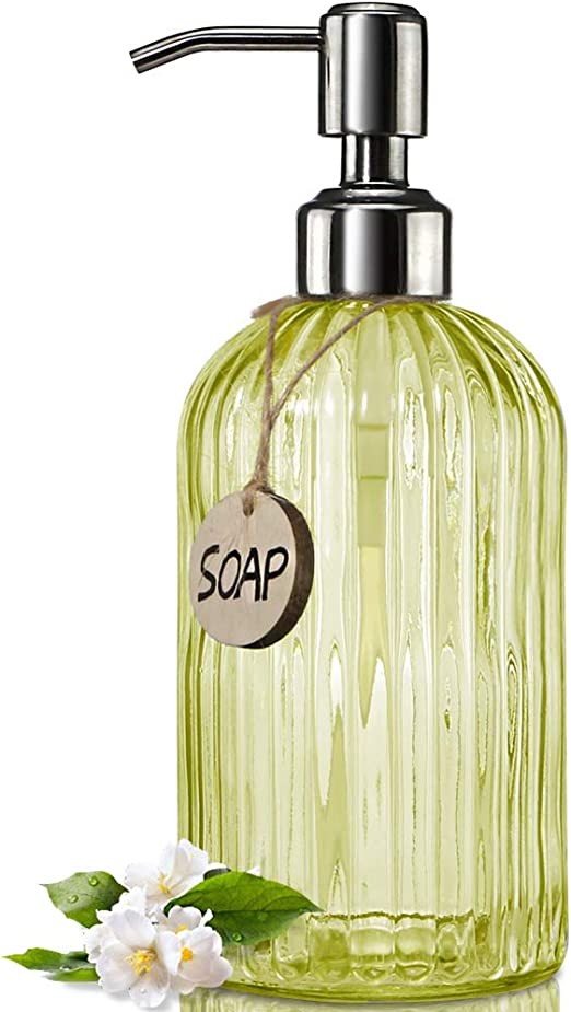 18 Oz Clear Glass Soap Dispenser with Rust Proof Stainless Steel Pump Refillable