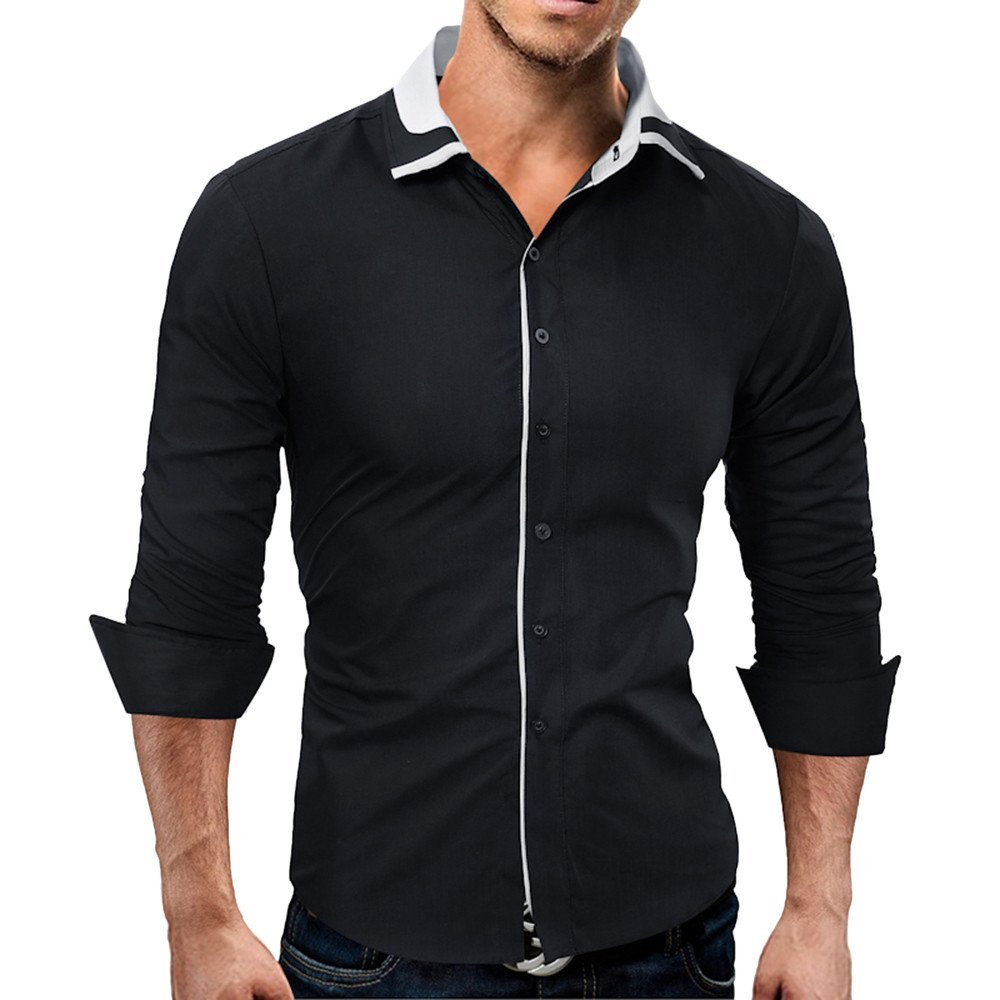 Men's Shirt-HOT SALE!! Farjing Men Shirt Fashion Solid Color Male Casual Long Sleeve Shirt (M,Black)