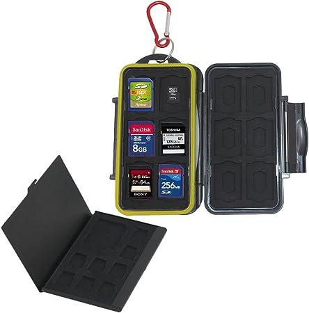 AFUNTA Estuche para Tarjeta de Memoria, 24 Ranuras, SD SDHC SDXC Soporte Micro SD TF, Antichoque Resistente al Agua, con 8 Ranuras Tarjeta de Aluminio Almacenamiento: Amazon.es: Hogar