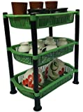 AWFER365 Semi Virgin Rectangle Rack Premium Plastic 3 Steps Kitchen Rack Basket for Office Use, Fruits Onion, Potato, Vegetables and Sabji Basket Tray for Household (Color May Vary)