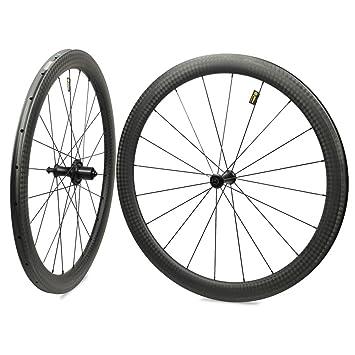 Yuanan Rueda de Bicicleta DE 47 mm 700 C Rueda de Carbono de Carretera 27 mm Aero Rim con BITEX Recta Pull Hub Tubeless: Amazon.es: Deportes y aire libre