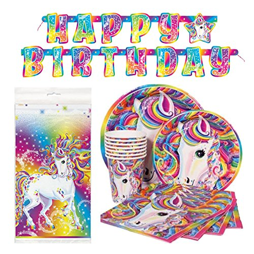 Deluxe Lisa Frank Rainbow Majesty Unicorn Birthday Party Supplies Pack - Serves 16 (Lisa Frank Unicorn)