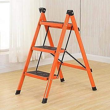 3 Paso Escalera,plegable Escalera Antideslizante Escaleras De Mano El Hierro Escalera Taburete Multifuncional Para El Hogar-naranja 69x48x68cm(27x19x27inch): Amazon.es: Bricolaje y herramientas