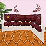 FAB NATION L Shaped Sofa Covers Polka Geometric Design, Maroon - -78% Polyester 28% Cotton (12 pc Uncut NET Fabric)