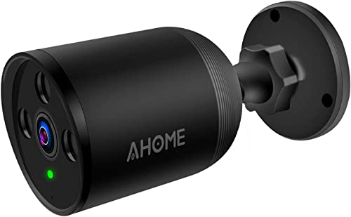AHOME A1 Outdoor Security Camera Wireless with Motion Detection, 1080P Night Vision, 2-Way Audio, Deterrent Alarm, 2.4G WiFi Ethernet, Cloud Storage SD Slot for Waterproof Surveillance System – Black