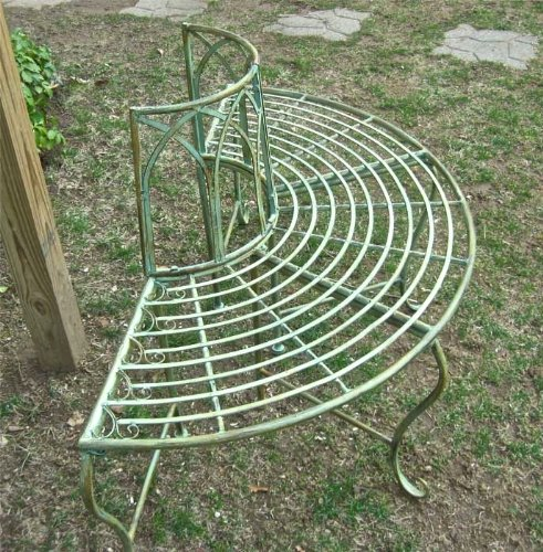 1/2 Round Tree Bench/plant Stand - Wrought Iron - Antique Mint Green Finish by SERENDIPPITY