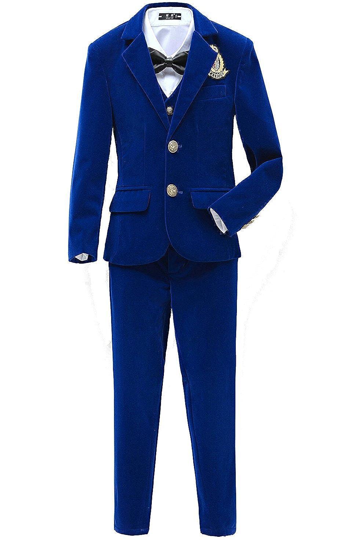 YuanLu Boys Velvet Blue Suits 5 Piece Slim Fit Dress Suit Set for Wedding