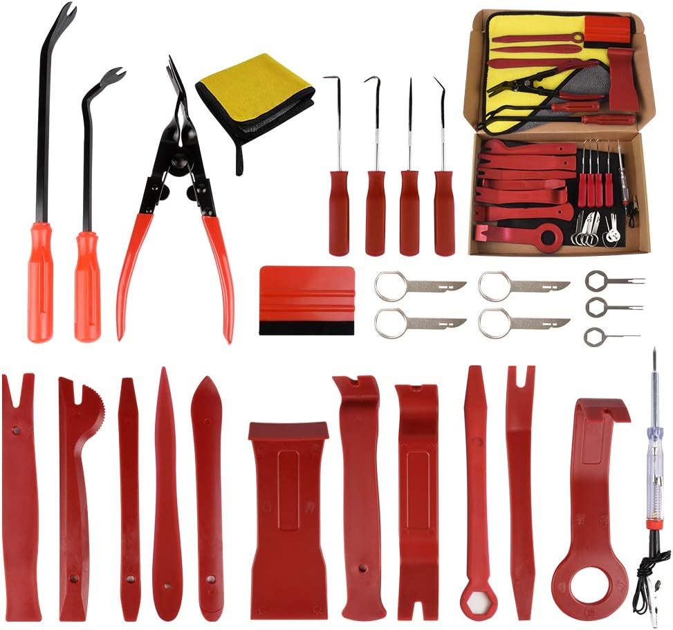 28 Pcs Car Trim Removal Tool Set Removal Repair Release Tool Door Trim Disassembly Tools for Car Panel Dash Audio Radio Removal Installer Auto Clip Pliers Fastener Remover Pry Tool Kit Nylon (Red)