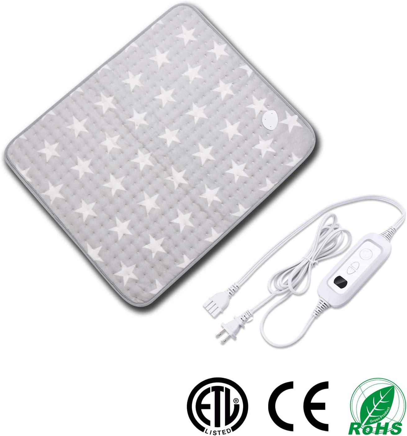 Heating Pad for Muscle Pain Relief with Strap, Electric Heat Therapy Heating Pad with Auto Shut-Off, Fast Heat-up with 6 Heating Levels,Super Soft Material (23.6''x19.7'', Gray-Star Pattern)