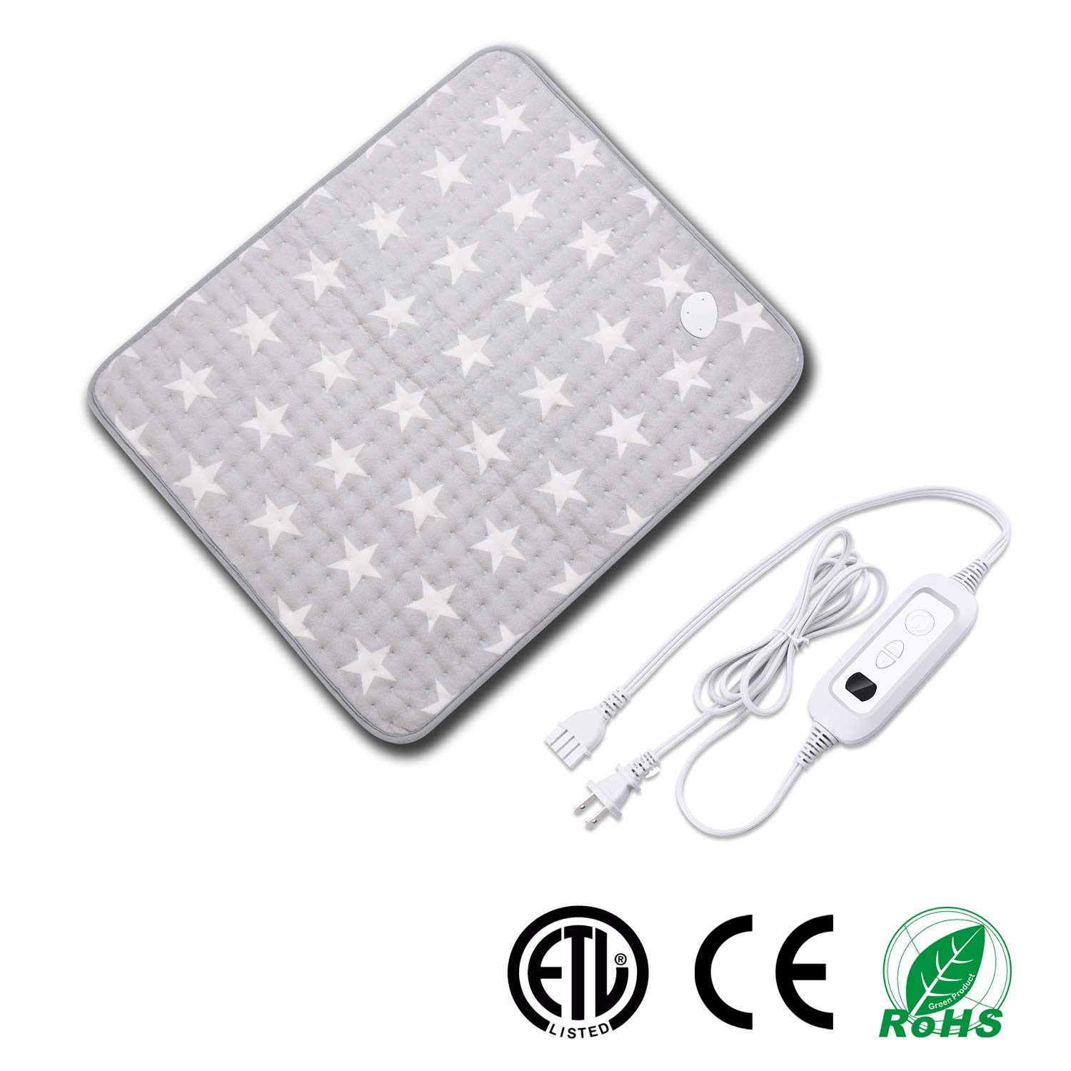 Heating Pad for Muscle Pain Relief with Strap, Electric Heat Therapy Heating Pad with Auto Shut-Off, Fast Heat-up with 6 Heating Levels,Super Soft Material (23.6''x19.7'', Gray-Star Pattern) by Dr.Duane