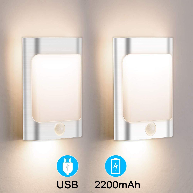 OOWOLF 2 Pack LED Motion Sensor Night Light, USB Rechargeable Motion Sensing Closet Lights Warm White Wall Light for Children's Room, Bedroom, Bathroom, Kitchen, Hallway, Stairs
