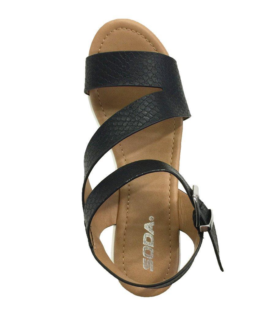 UNVEIL! Women's Open Toe Retro Cross Strap Lug Sole Platform Wedge Sandals B01FYBMIRC 6.5 B(M) US|Black Snake Leatherette