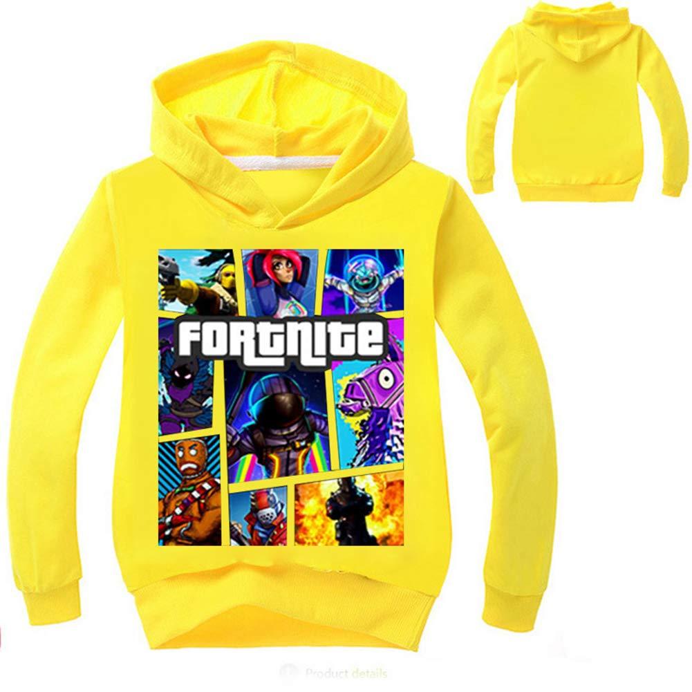 Merdbu Fortnite Hoodie Long Sleeve Hooded Crewneck Sweatshirts Girls Boys