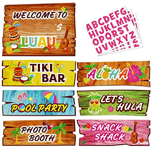 Luau Party Signs Aloha Welcome Signage Tropical Summer Birthday Party Hawaiian Baby Shower Yard Decorations Tiki Bar Photo Props Cutouts Set of -