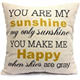 WUWE Cotton Linen Square Vintage Throw Pillow Case Shell Decorative Cushion Cover Pillowcase You are My Sunshine&You Make Me Happy 18 x 18 Inch