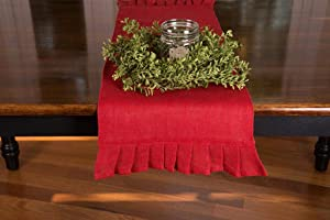 Primitive Home Decors Red 42 inch Table Runner with Ruffled Ends