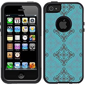Skin Decal for Otterbox Commuter iPhone 5 Case - Victorian Pattern Blue and Grey on Teal