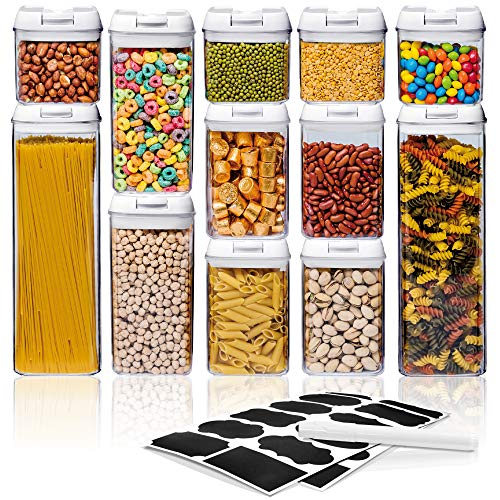 Airtight Food Storage Container Sets – Larger Sizes |Leak Proof & Interchangeable Lids| Pantry Organization| Premium Quality Clear Plastic with White Lids| BPA FREE (12-Piece Set)