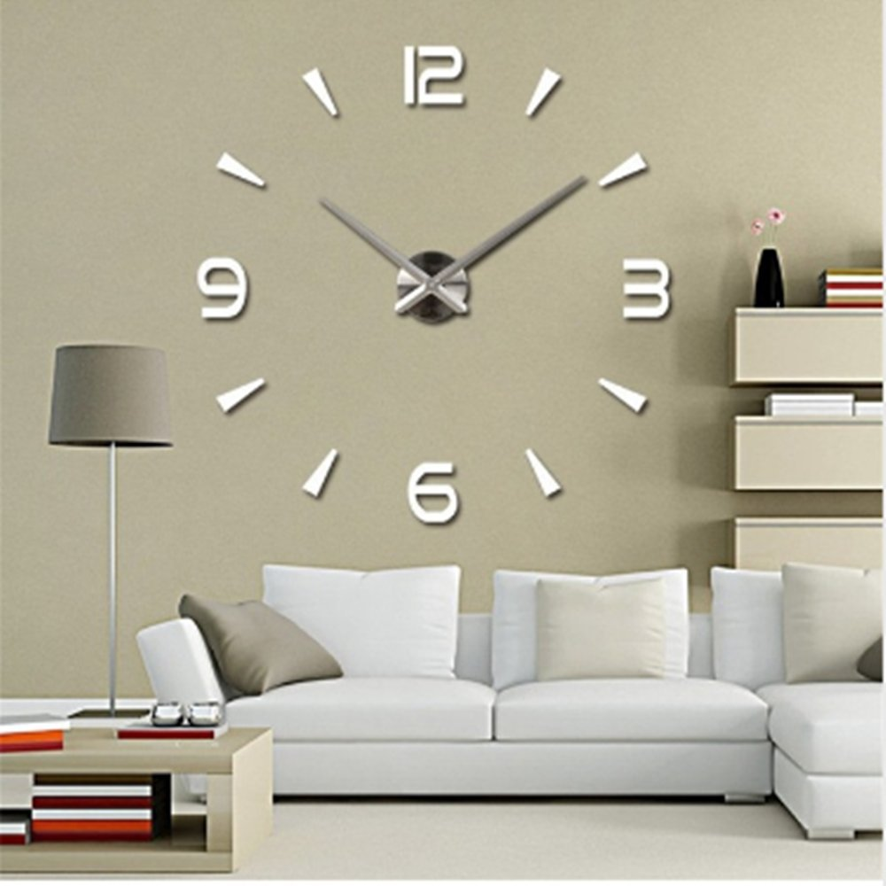 Elikeable Modern 3D Frameless Large 3D DIY Wall Clock Watches Hours DIY Decorations Home for Living Room Bedroom (silver-4)