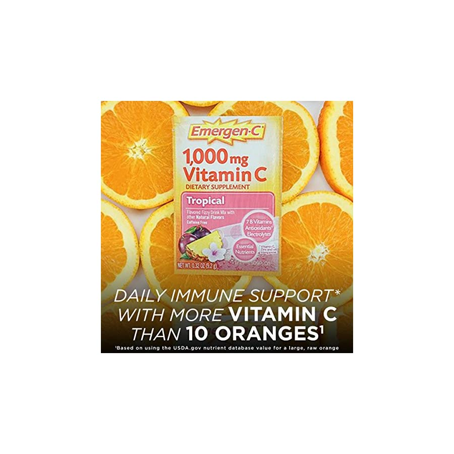 Emergen C (30 Count, Tropical Flavor, 1 Month Supply) Dietary Supplement Fizzy Drink Mix with 1000mg Vitamin C, 0.32 Ounce Packets, Caffeine Free