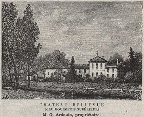 MÉDOC. MACAU. Chateau Bellevue (Cru Bourgeois Supérieur). Ardouin. SMALL - 1908 - old print - antique print - vintage print - Gironde art ()
