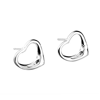 Open Heart Stud Earrings - 925 Sterling Silver Plated - Designer Inspired TnG9YED
