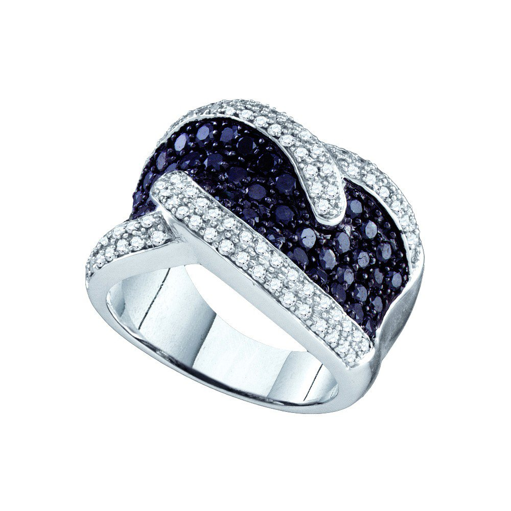 Size 10.5 - 10k White Gold Round Black Diamond Band Ring 2.00 Cttw