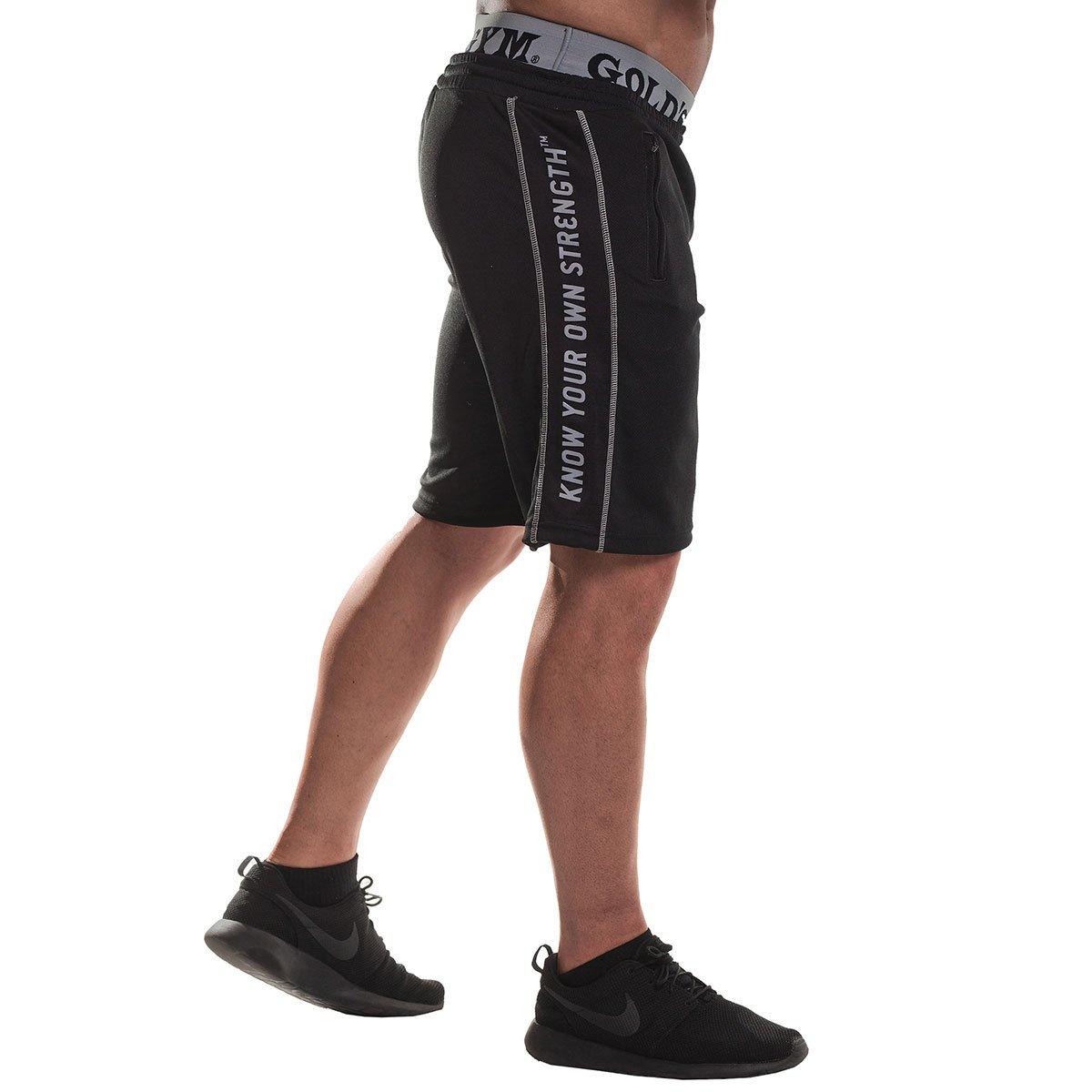 Pantaloncini da allenamento da uomo Golds Gym GGSHO069 in rete M Nero 1 colore: Nero con cerniera