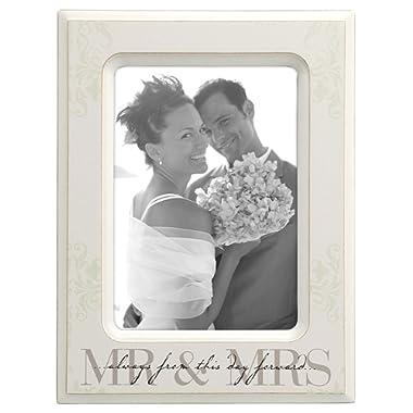 Malden International Designs Wedding  Mr. and Mrs.  Wooden Picture Frame, 5x7, Cream