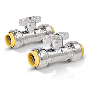 "Pushlock UPSSP1212-2 1/4 Turn Straight Stop Valve Water Shut Off 1/2 x 1/2 Inch Push, 1/2"" Push X 1/2"" Push Chrome"