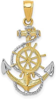 2 LARGE Nautical Pendant Antique Silver Tone Ship Wheel Charms MC0427