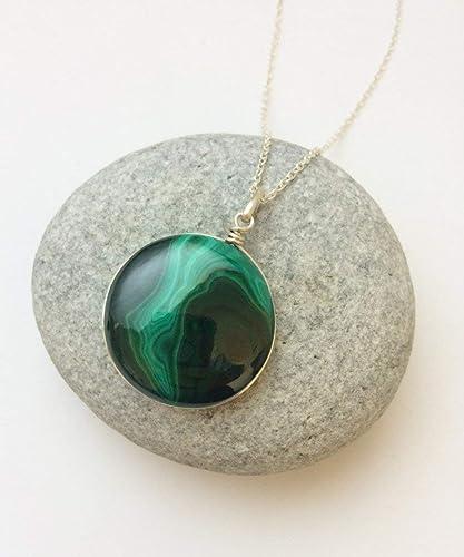 Malachite Necklace,Malachite Silver Necklace,Personalized Necklace,Green malachite Jewelry,Green stone Necklace Length 20 Cabochon Gemstone